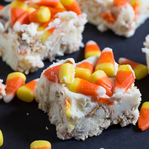 Candy Corn Fudge - a festive Halloween treat with pretzels and white chocolate.