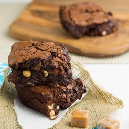 Brownies with Caramel and Peanuts