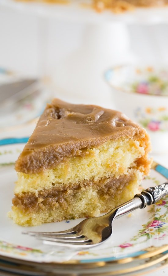 Southern Caramel Cake - moist vanilla cake with lots of ultra-sweet caramel icing.