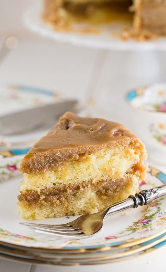 Southern Caramel Cake- moist vanilla cake with lots of ultra-sweet caramel icing.
