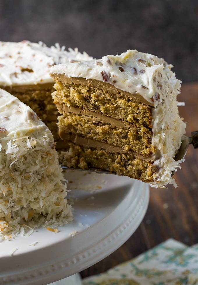 Caramel Italian Cream Cake with 2 kinds of frosting.