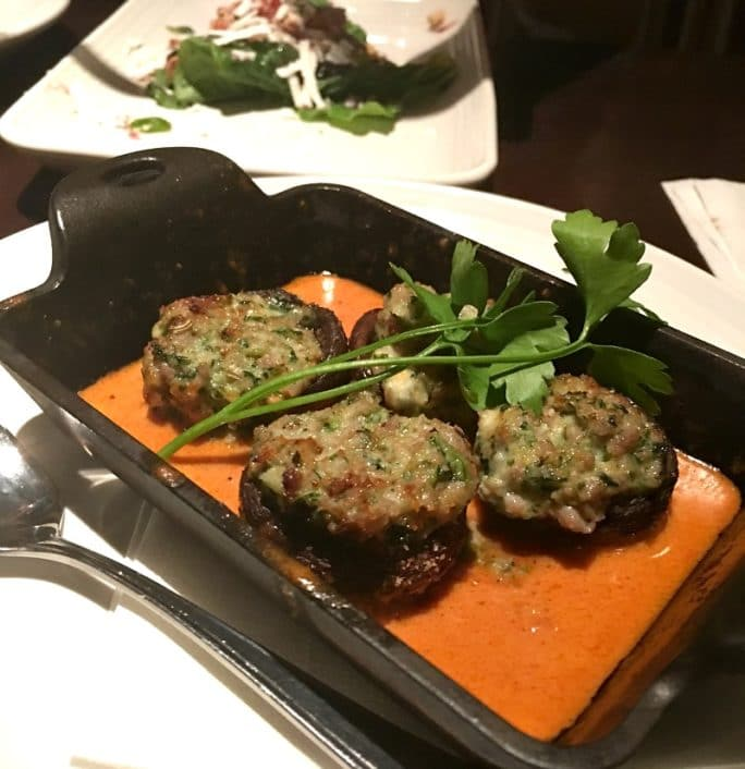 Carrabba's New Menu- stuffed mushrooms small plate
