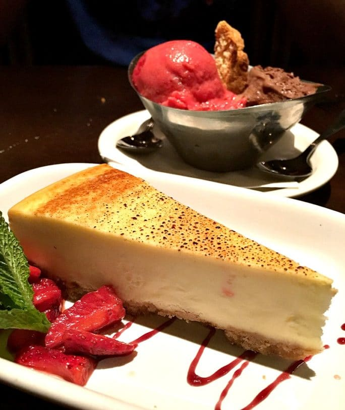 Carrabba's New Menu- cheesecake and gelato