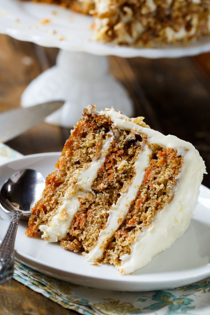 Mama Dip's Carrot Cake with walnuts and lots of cream cheese frosting. So good!