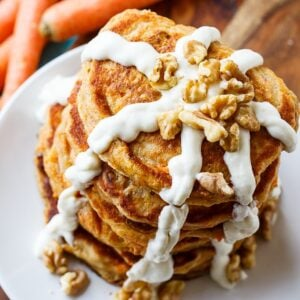 Carrot Cake Pancakes with Cream Cheese Glaze