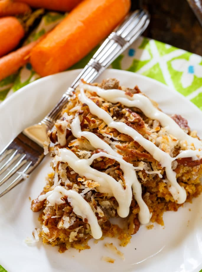 Carrot Coffee Cake with cream cheese glaze