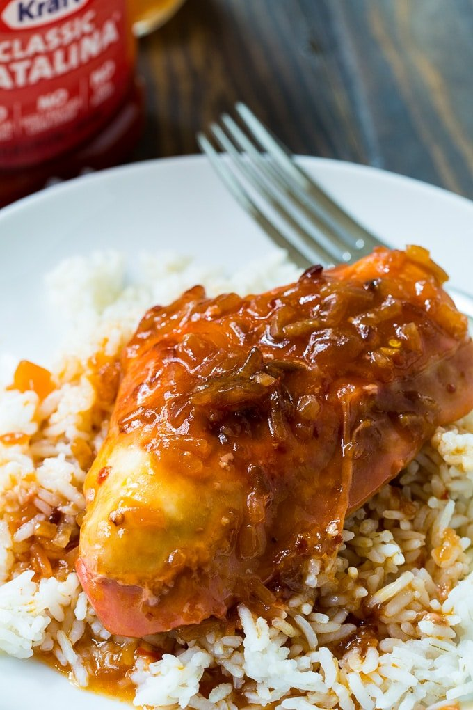 Crockpot Catalina Chicken served over rice