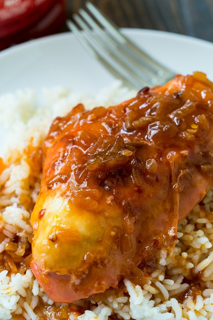 Crockpot Catalina Chicken is both sweet and tangy.