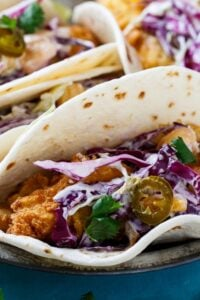 Southern Catfish Tacos with Jalapeno Peach Slaw