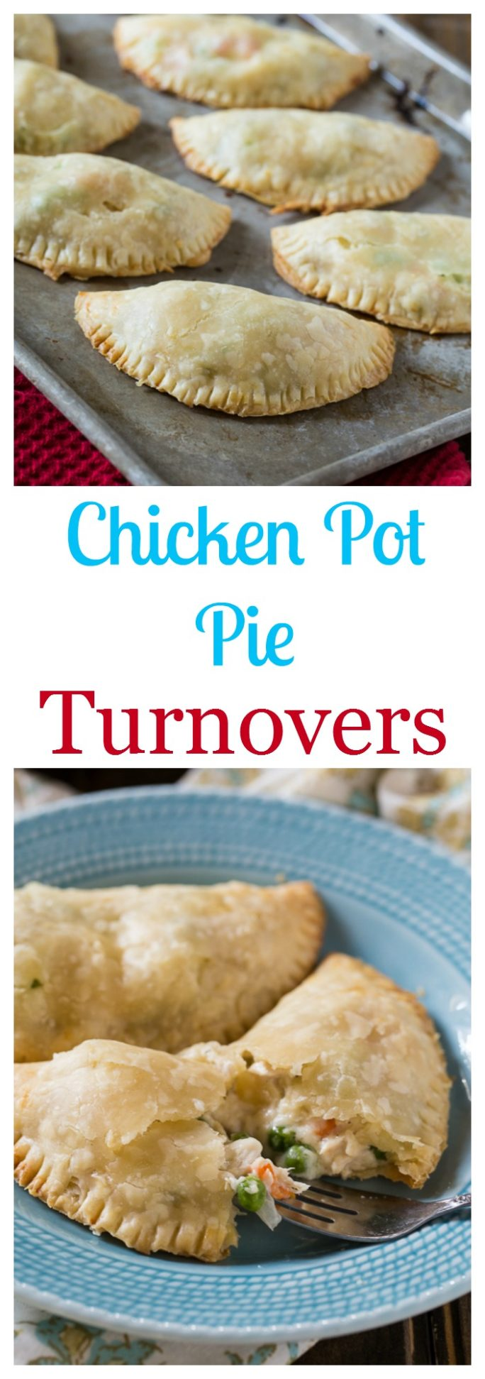 Easy Chicken Pot Pie Turnovers made with refrigerated pie crusts