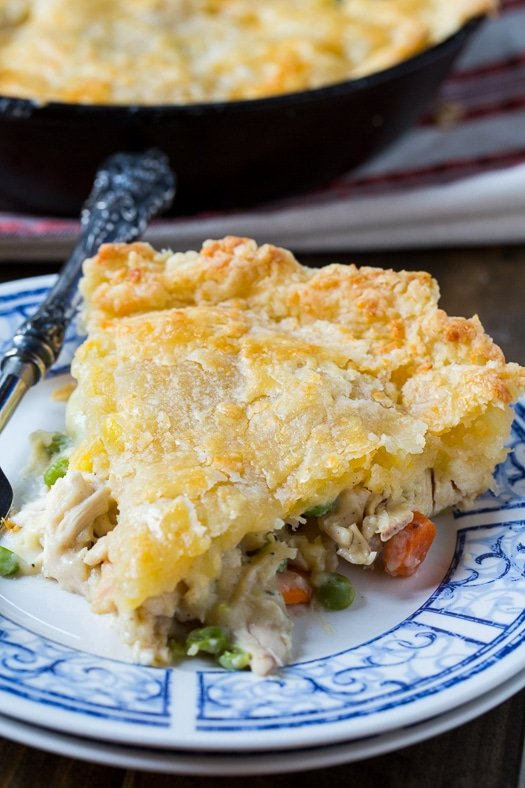 Skillet Chicken Pot Pie with Cheddar Crust