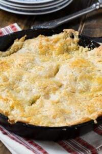 Skillet Chicken Pot Pie with Cheddar Crust