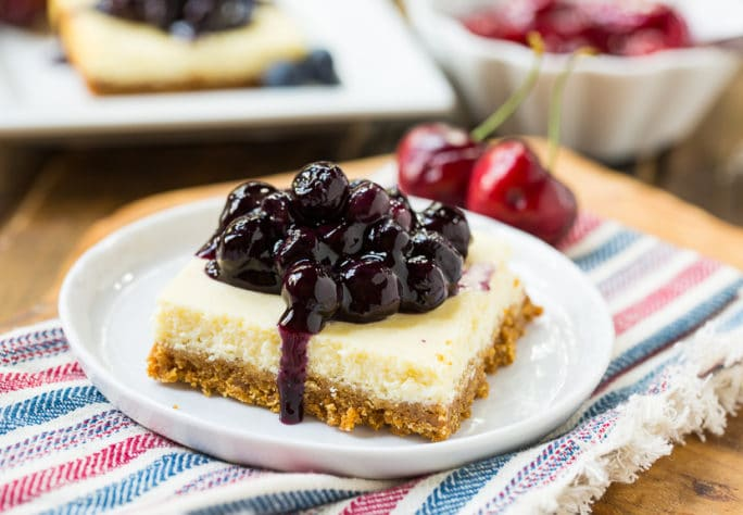 Lightened-Up Cheesecake Bars with fruit toppings #SweetSwaps #SplendaSweeties