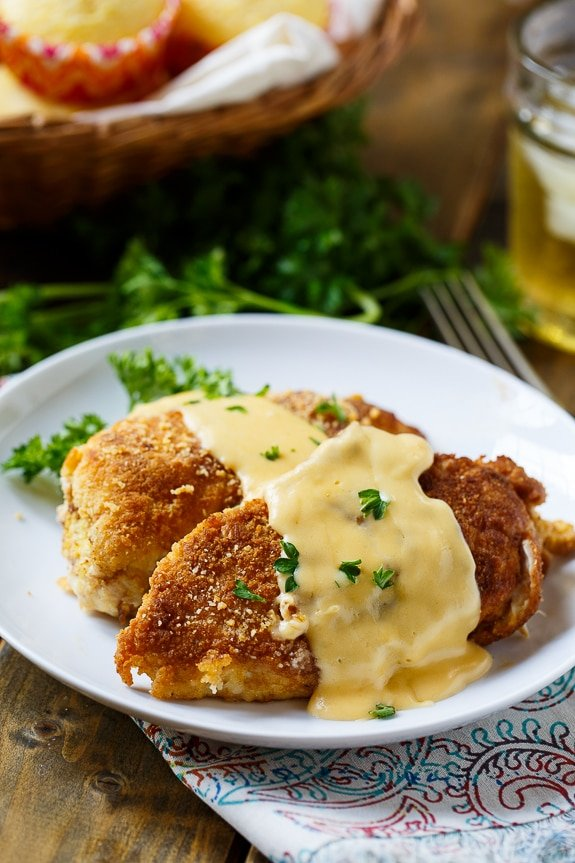 Cheesy Chicken Breasts with a crushed Ritz cracker coating.