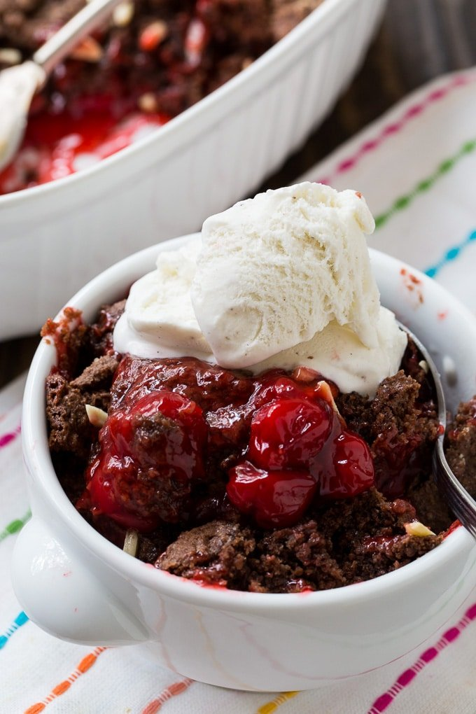 Chocolate Cherry Cobbler served with vanilla ice cream