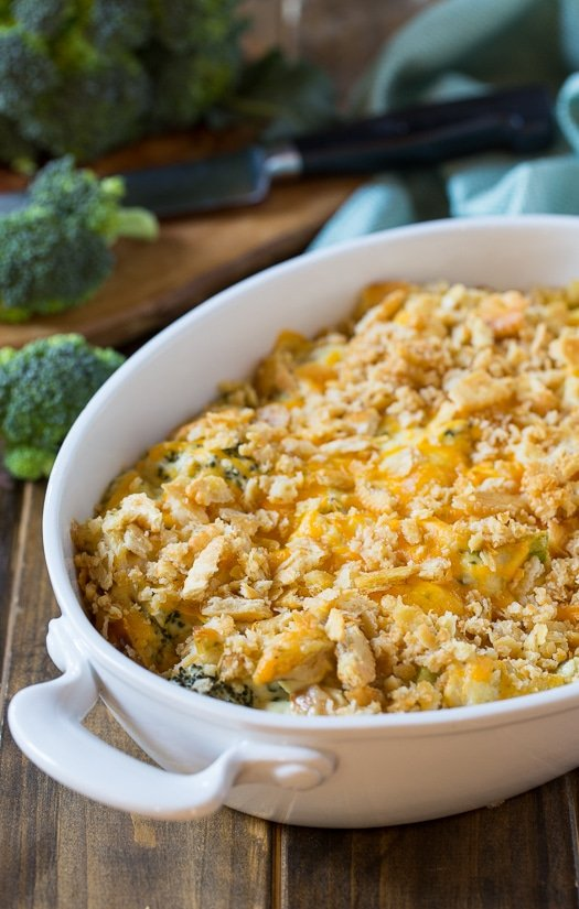 Chicken Divan Casserole - a creamy mixture of chicken, broccoli, and cheese. Great for using up leftover chicken or turkey!