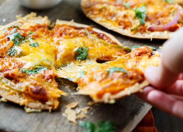 BBQ Salmon Tortilla Pizzas
