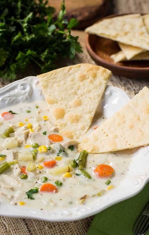 Chicken Pot Pie in soup form! You'll love the pie crust pieces.