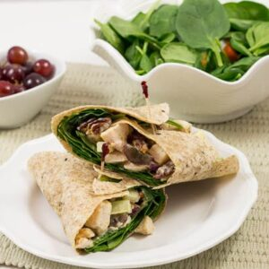 Chicken Salad Wrap with apples, grapes, and spicy pecans
