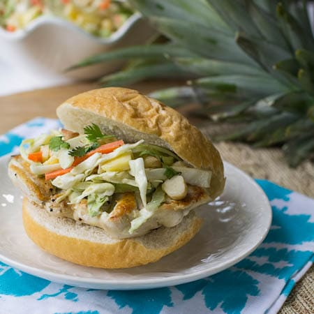 Chicken Sandwich with Pineapple Slaw