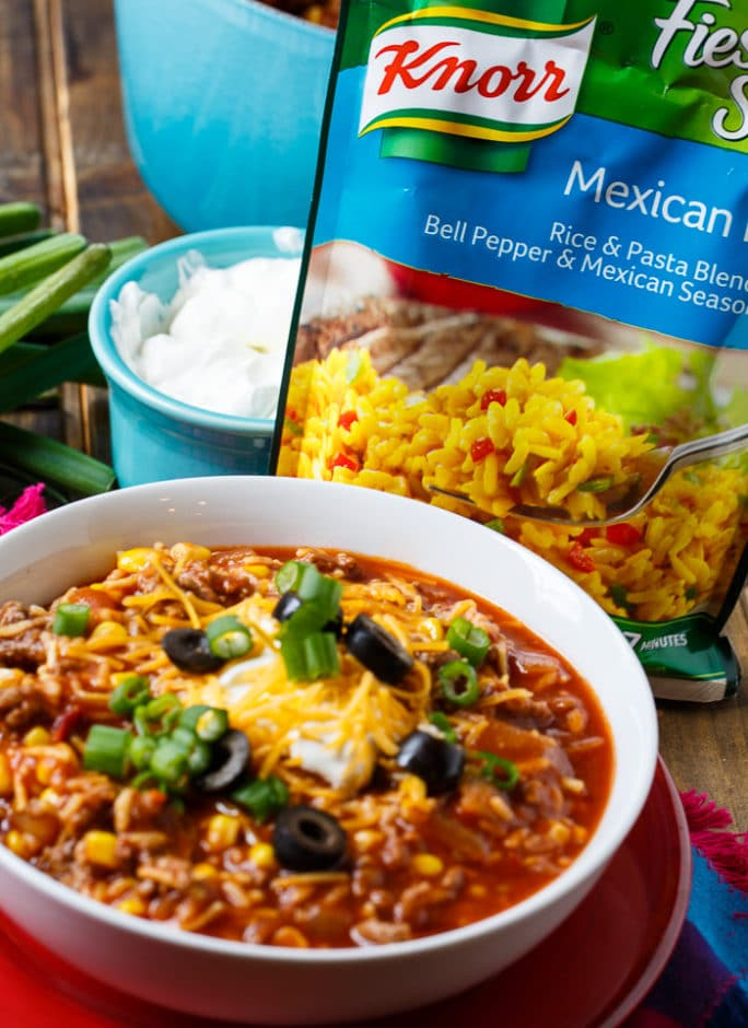 Chipotle Chili and Rice- ready in under 30 minutes.
