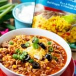 Chipotle Chili with Rice- ready in under 30 minutes.