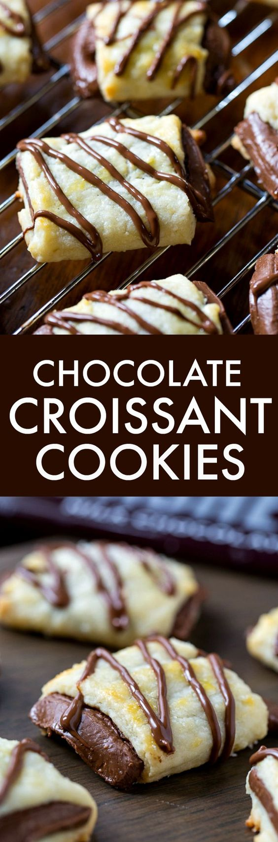 Buttery and delicious Chocolate Croissant Cookies are made with a tender and rich dough wrapped around a Hershey bar.