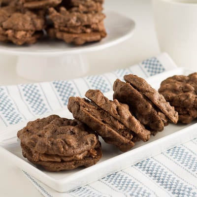 chocolate Chocolate-chip cookies with mocha cream filling