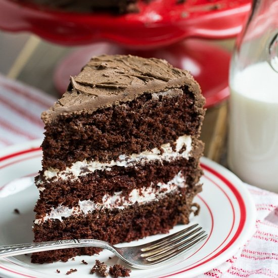 Cake With Cream Frosting : Chocolate Cake with Cream Filling - Spicy Southern Kitchen