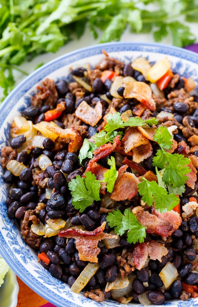 Chorizo Black Beans. Chorizo and bacon give these beans so much smoky flavor.