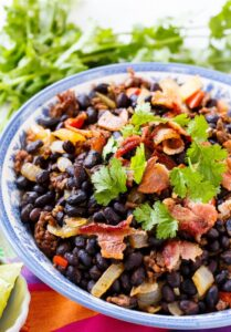 Chorizo Black Beans, Chorizo and bacon give these beans so much smoky flavor.
