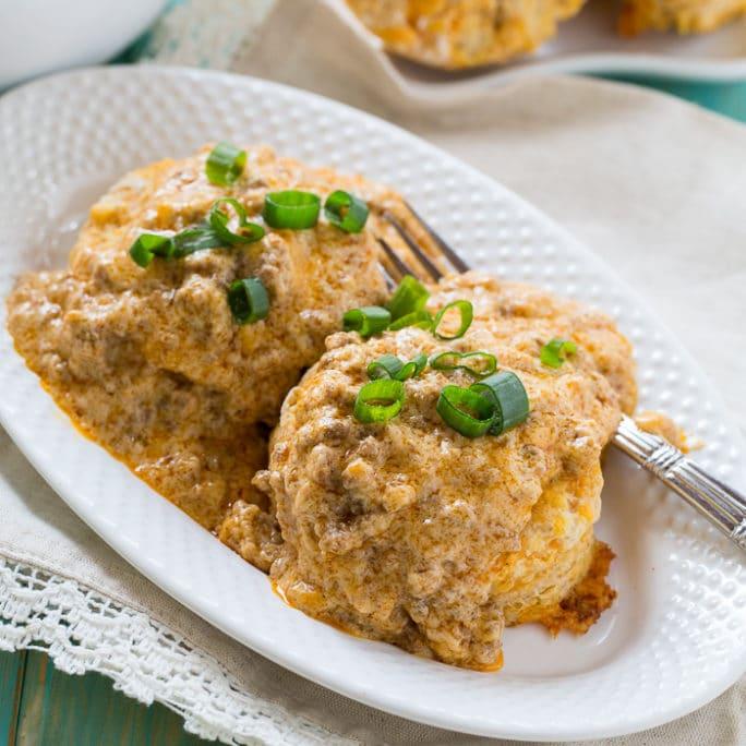 Sweet Potato Biscuits with Chorizo Sausage Gravy
