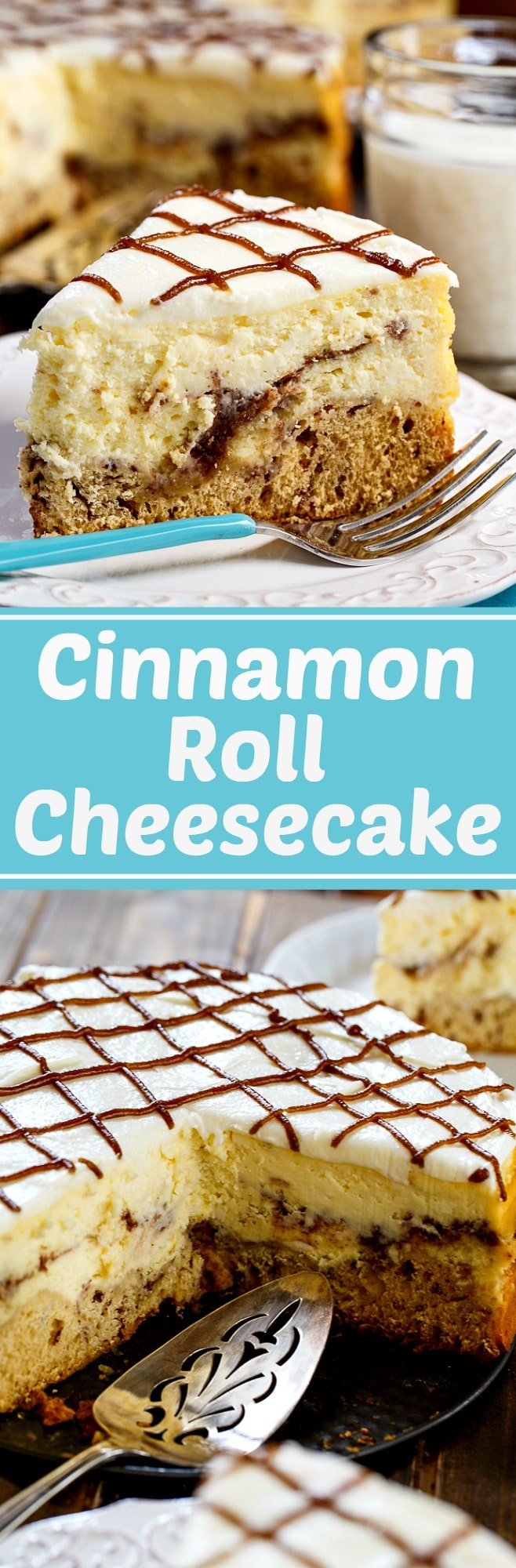 Cinnamon Roll CHeesecake with a crust made out of cinnamon rolls.