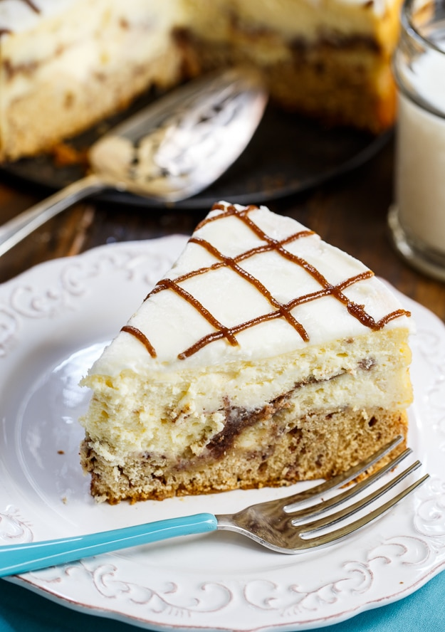 Cinnamon Roll Cheesecake- cinnamon rolls form the crust of this creamy cheesecake.