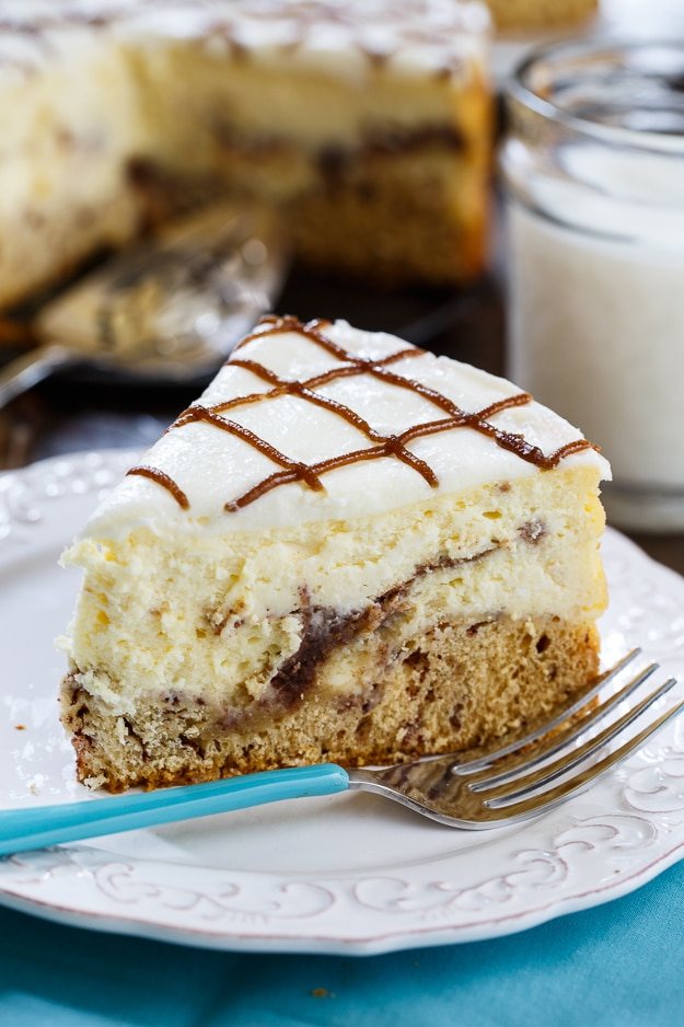 Cinnamon Roll Cheesecake - cinnamon rolls form the crust of this creamy cheesecake.