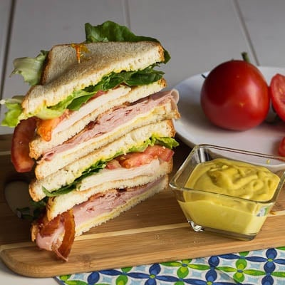 club sandwich with honey mustard