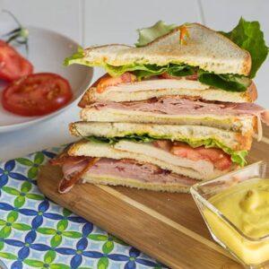 club sandwich with honey mustard