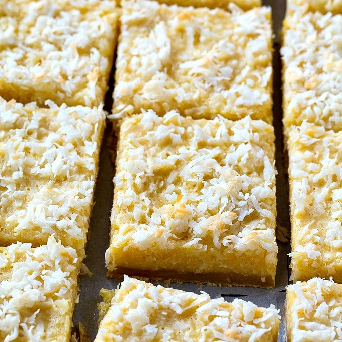 Butter Coconut Bars with Shortbread Crust