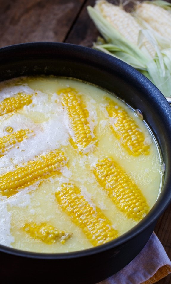 Best Way to Cook Corn- boiled with a stick of butter and a cup of milk. Most delicious corn ever!