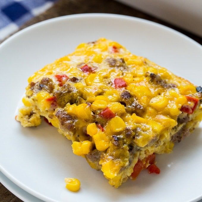 Corn and Sausage Pudding