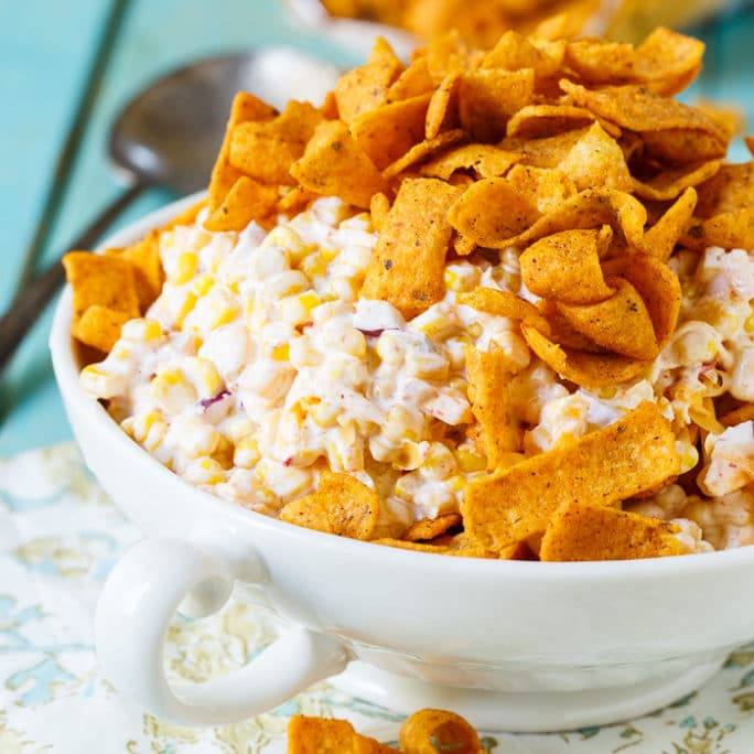 Frito Corn Salad is positively addicting. Perfect for potlucks, picnics, and cookouts.