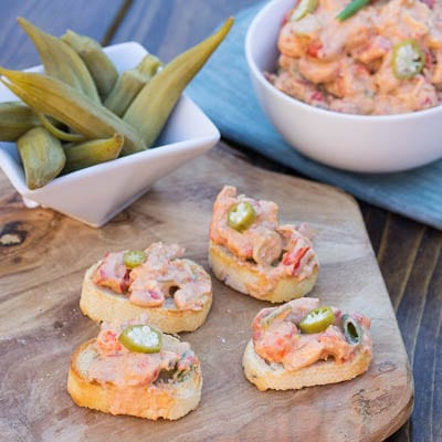 crawfish spread with pickled okra
