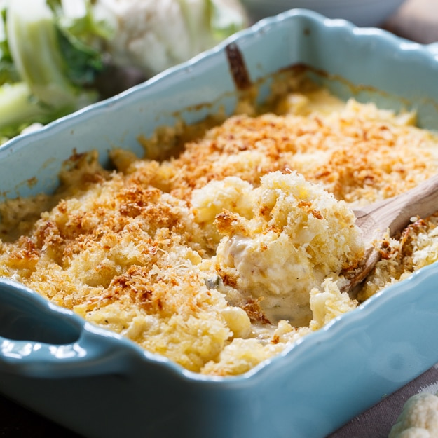 Creamed Cauliflower. A creamy and cheesy vegetarian casserole with a buttery bread crumb topping.