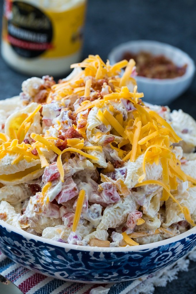 Creamy and Tangy Pasta Salad with bacon