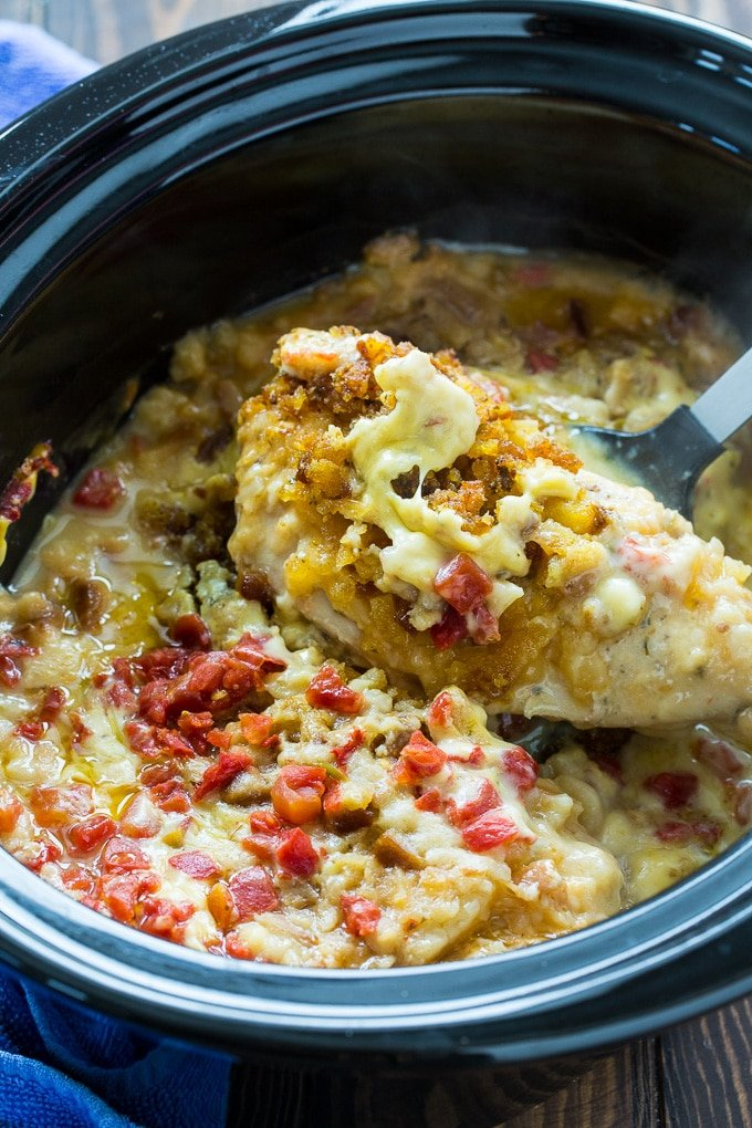 Crock Pot Cheesy Stuffing Chicken