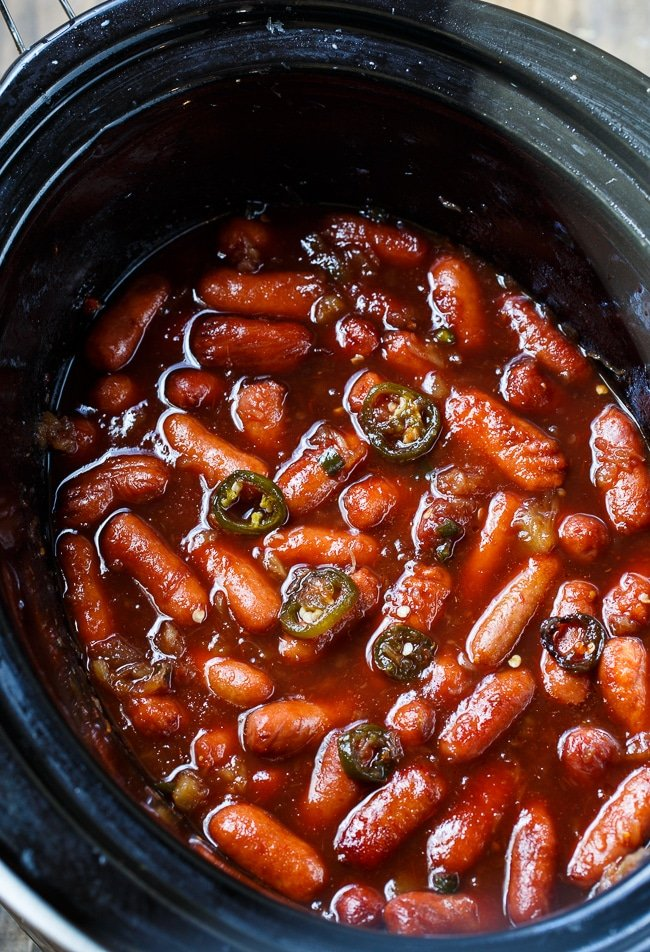 Crock Pot Little Smokies- the easiest appetizer ever. Great for a holiday party!
