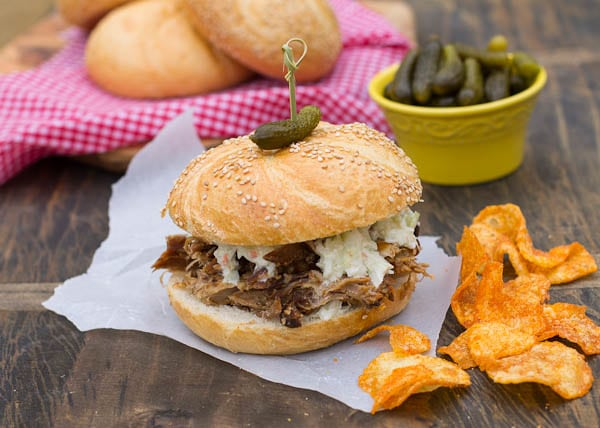 Pulled Pork Sandwich with bbq chips.