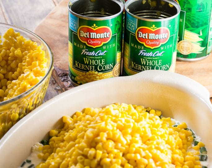 Cheddar Corn Casserole with lots of cheese and bacon