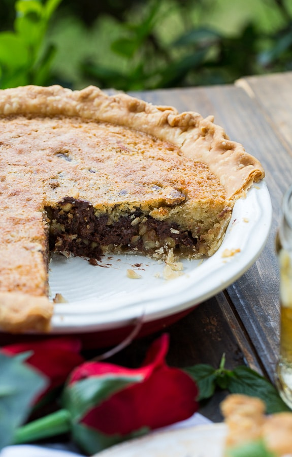 Kentucky Derby Pie has a gooey chocolate and walnut filling with a splash of bourbon.