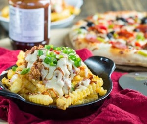 Southern Cheese Fries with BBQ Pork and Pimiento Cheese Sauce